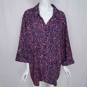 Catherines Pink Navy Blue Print Blouse 3/4 Sleeves